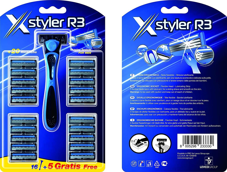 X-Styler R3 Rasoio Manuale + 20 Ricariche